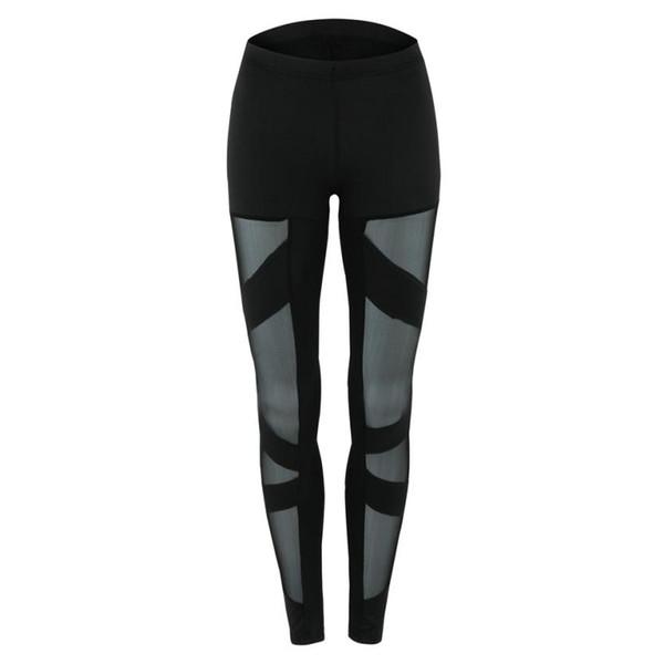 Pantaloni sportivi incrociati con inserti a rete in pizzo con fasciatura in pizzo