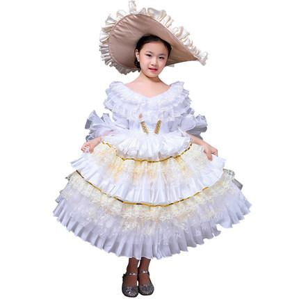 Free ship children's girls luxury medieval dress with hat white ruffled rococo floral stage costume renaissance gown dress