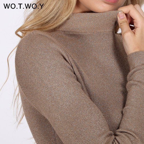 f1f51f79b0b 2018 WOTWOY Shiny Lurex Turtleneck Sweater Women Pullover Knitted Slim 2018  Winter Cashmere Sweaters Womens Jumpers