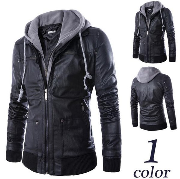 New fashion boutique explosion models European and American style foreign trade Slim hooded fake two men's motorcycle leather jacket