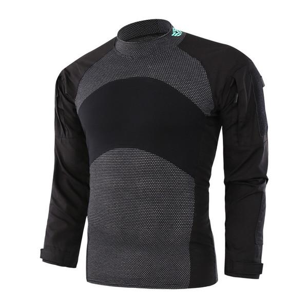 Männer Plaid Gestrickte Tuch Camo Splice Training Uniform Tops Outdoor Reiten Wandern Sport Armee Fans Kampf Tactical Shirt