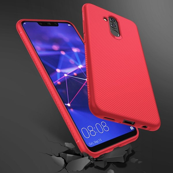 For Huawei Mate 20 Lite Twill Texture Silicone Protection Half-wrapped Cell Phone Case with free shipping