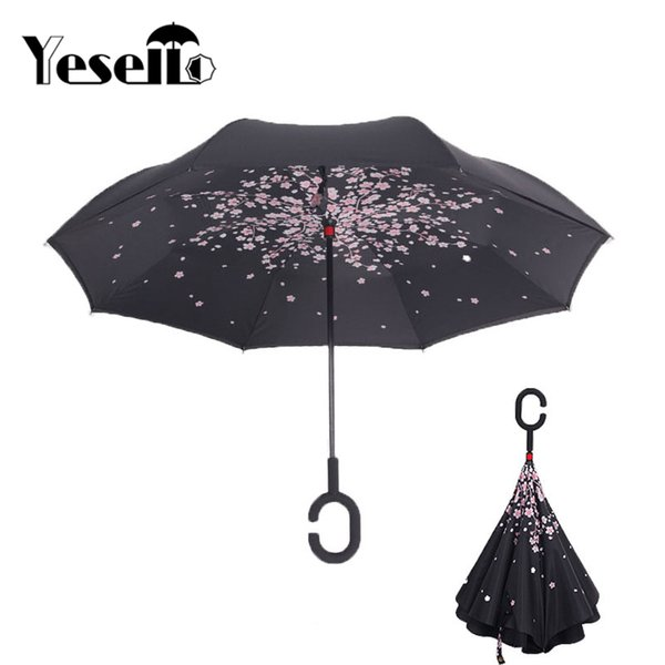 Yesello Cherry Blossom Tree Double Layer UV Proof Windproof Inverted Rolling Over Umbrella With C-Shaped Handle for Car Outdoor