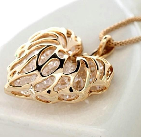 whole saleHeart Necklace - Fashion woman full of gold silver heart-shaped crystal rhinestone pendants necklace sweater long N1054