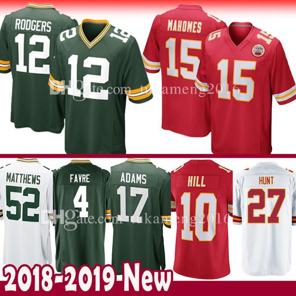 2018 Green Bays Packers 12 Aaron Rodgers Kansas City Chiefs 15 Patrick  Mahomes Ii Jersey 10 Tyreek Hill 17 Adams Hunt Berry Kelce Matthews Favre  From