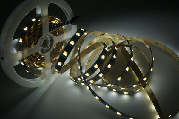 5m / lot DC 12V 2 couleurs en 1 puce 5050 Bande à LED Dual White CW / WW CCT Température de couleur Bande LED Ruban Lumières