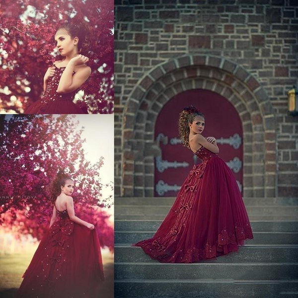 Arabic Design Burgundy Girl's Pageant Dresses Tulle Appliqued Beaded Bow Kids Formal Glitz Flower Girls Dresses Little Girl Princess