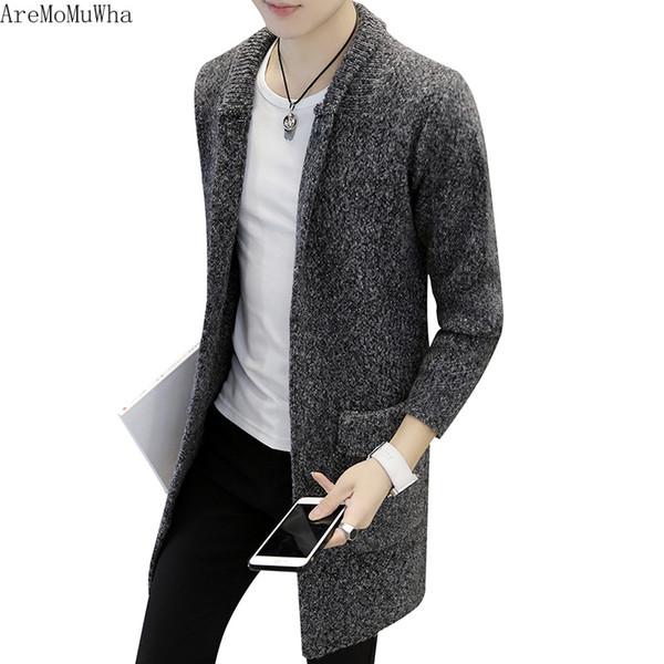 AreMoMuWha 2018 Novo Blusão Tendência Primavera e Outono Linha Camisola dos homens Slim Jaqueta Longa Camisola Cardigan Mens Trench Coat
