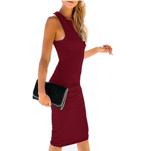 good quality Summer Women's Dress 2019 Casual Sexy Sleeveless Tight-fitting Hip Dress Women's Summer V-neck Midi Black Dress