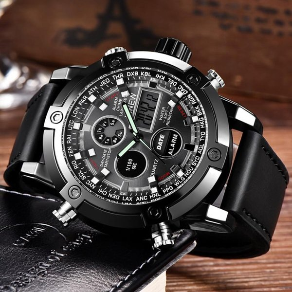 Luxus Dual Movt Herren Leder Quarz Analog Digital LED Sport Armbanduhr 0628