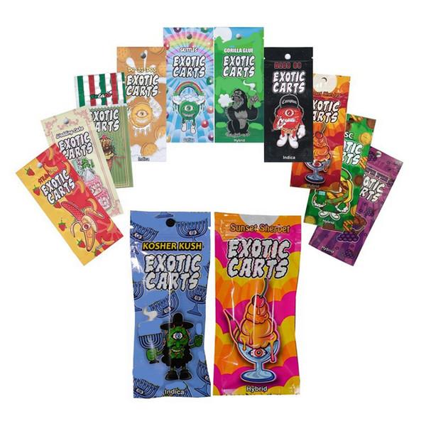 China Factory Hot Selling Refillable 1 gram Vape Cartridge Packaging 1003 EXOTIC CARTS Vape Pen Ziplock bag