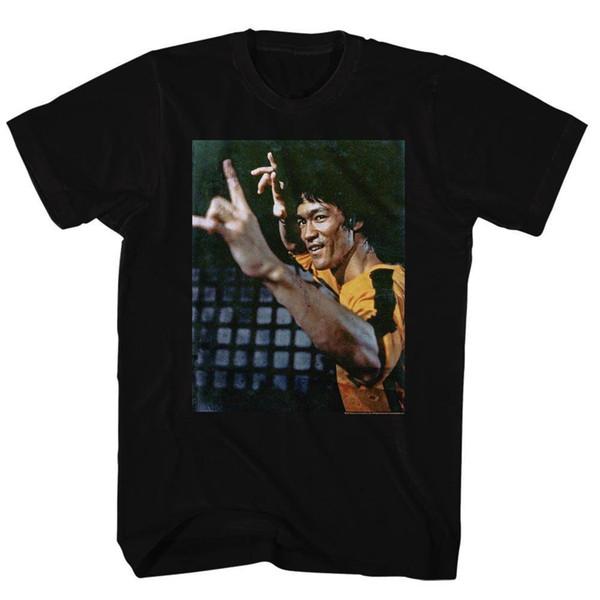 BRUCE LEE Tee-shirt à manches courtes pour hommes NOIR YEEEAAAHH tricoté confortable tissu de style de rue hommes t-shirt top Qualité coton Hipster gratuite