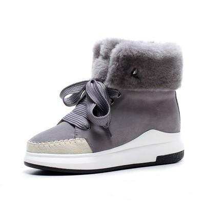 Free Shipping Women Black Grey Warm Snow Winter Boots Shoes Lady Muffin Bottom Casual Ankle Boots