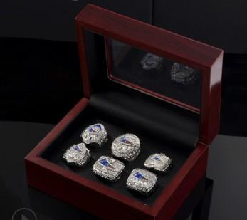 Hot new style 6pcs New England championship rings set wooden box display case men fashion for father's day boyftiend gift souvenir