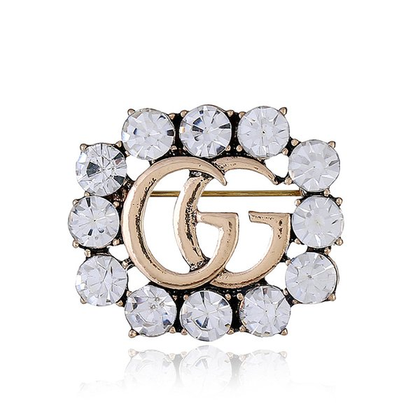 2018 Hot Sale Crystal Rhinestone G Letters Brooch Pin Hollow Corsage Brooches Women Fashion Jewelry Costume Decoration Top Designer