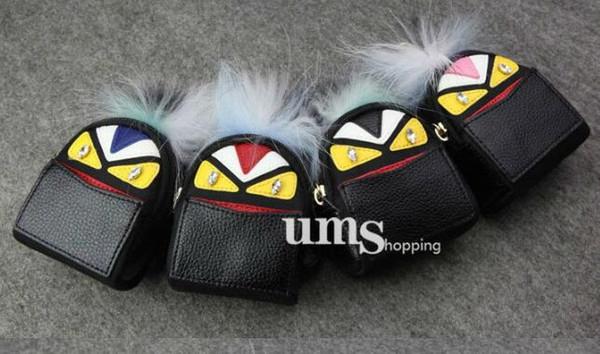wholesale Monster PU Leather Small Mini Coin Purse Keychain Wallet Women Mini Bag Key Chain Bag Pendant