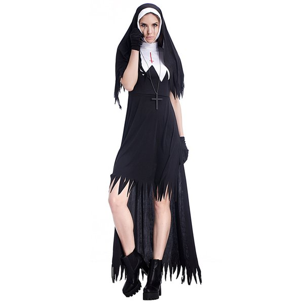 Adult Black Nun Dress With Hooded Cape Suit Costumes Cosplay For Woman Halloween Easter Church Party Cosplay