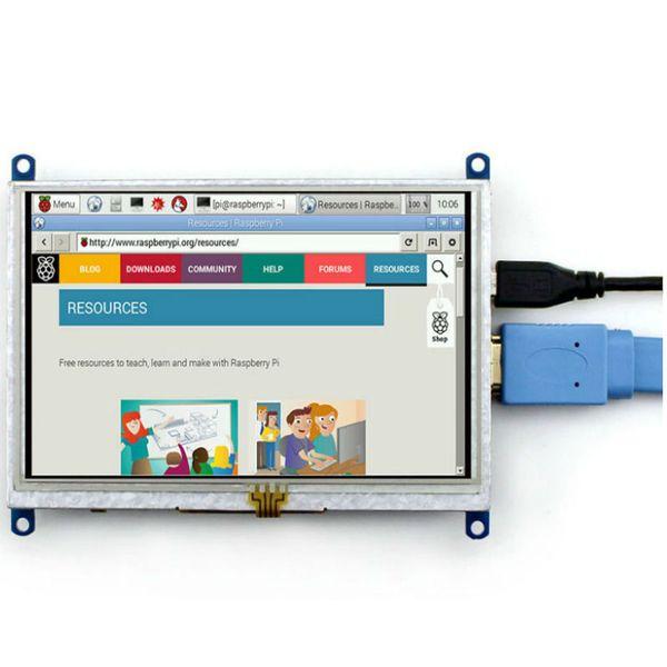 Freeshipping 800*480 5 inch LCD HDMI Touch Screen Display Module TFT LCD For Raspberry Pi BB Black Banana Pi / Banana Pro