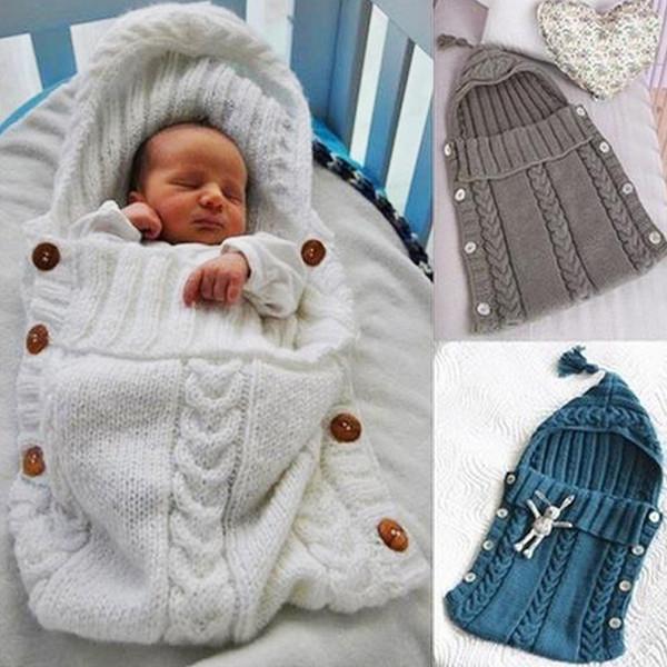top popular 2017 Newborn Soft Baby Sleeping Bags Winter Warm Wool Knitted Knitting Envelope Toddler Swaddle Wrap Blankets Stroller Footmuff 2021