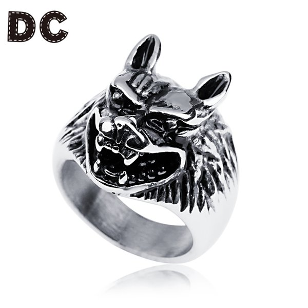 DC Vintage Punk Rings Stainless Steel Antique Silver Color Wolf Head Wide 9-13# for Women Male Festival Christmas Jewelry Ring