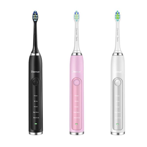 2019Dierman nouveau Sonic Brosse à dents électrique 2 têtes de brosse pour adultes 5 Modes de nettoyage sans fil par induction électrique Brosse à dents portable étanche