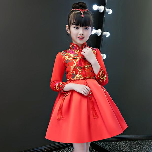 2019 neue jahr mädchen kleidung winter prinzessin dress kinder rot hochzeit cheongsam traditionellen chinesischen stil blume langarm mädchen kleider