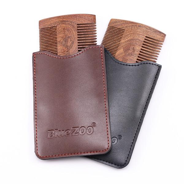 Bluezoo Black Wood 2 couleurs double face peigne barbe peigne portable peigne cheveux soin de la barbe anti électricité statique