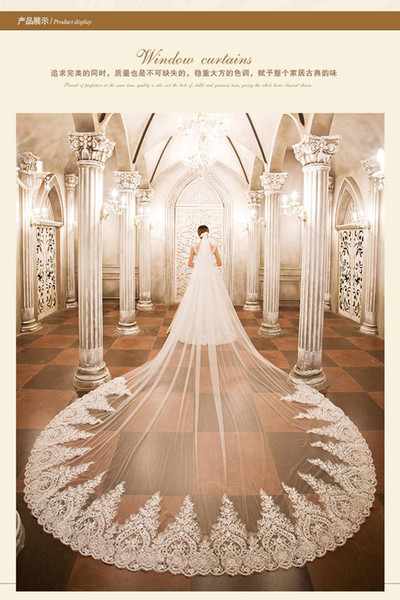New Arrival White Bridal Veils Tulle Lace Beaded 3.5m Cathedral Length One Layer Applique Edge Wedding Wraps Free Shipping