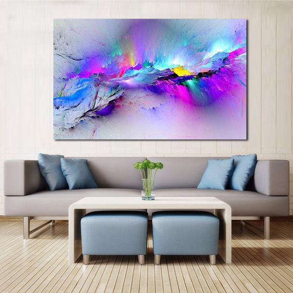 JQHYART Immagini a parete per soggiorno Astratta pittura a olio nuvole colorato su tela Home Decor No Frame