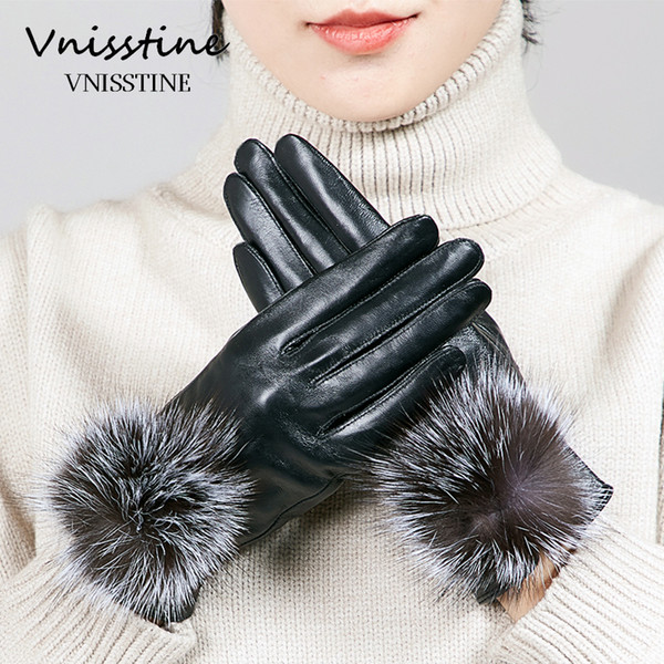 Winter Womens gloves Fox Fur Covered Genuine Leather Gloves Touch Screen Fashion Elegent Warm Black sheepskin Mittens