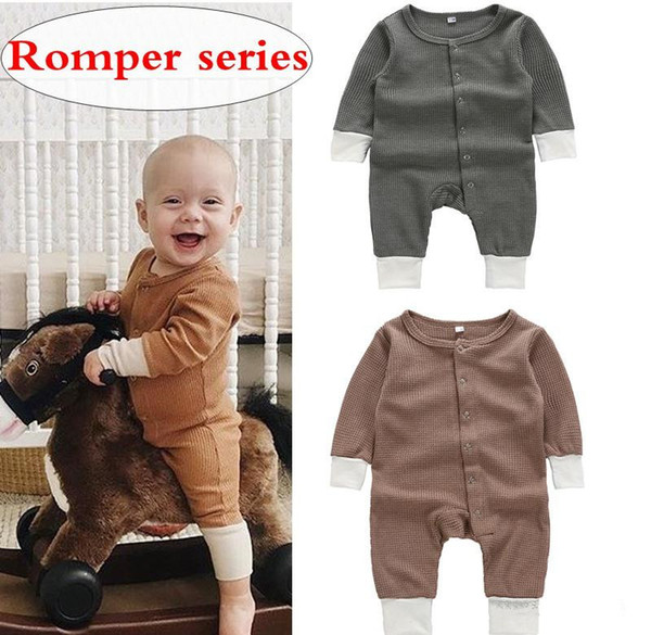 Infant boy boutique romper INS Baby unisex long sleeve Jumpsuit Newborn toddler bodysuits 4size for 3-18M