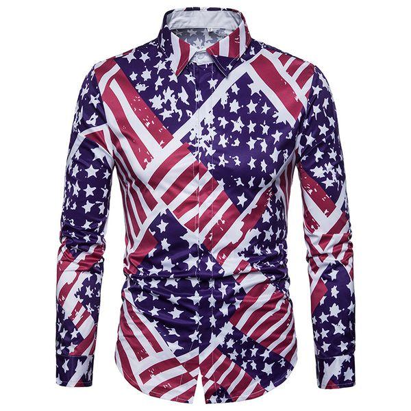 Novo Homem de Algodão Bandeira Nacional Número Impressão Homens Camisa de Manga Longa Camisa Havaiana Camisa Feminina Camiseta Masculina Streetwear