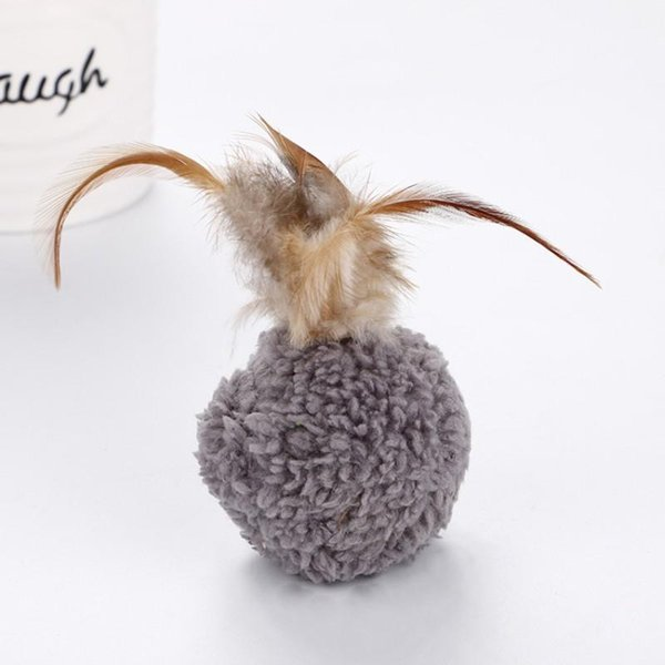 Cute Soft Cat Plush Ball With Feathers Mint Interactive Fancy Cats Playing Toys Non Toxic Pet Supplies Hot Sale 1 5wt ff