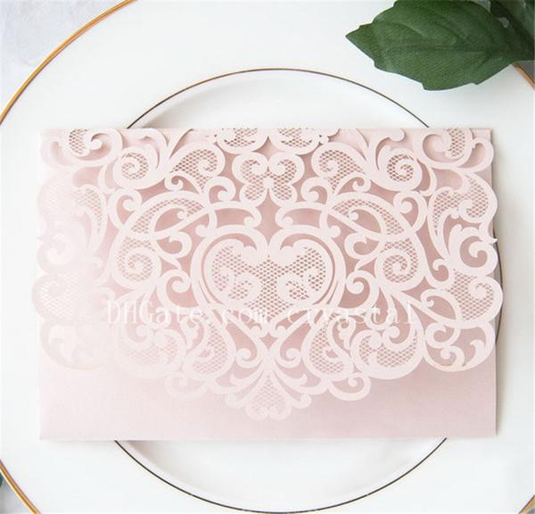 top popular 2019 Elegant Laser Cut Pocket - Burgundy Wedding Invitation - Blush Lasercut Pocket - DIY Wedding Invitation,No Insert And Envelope 2021