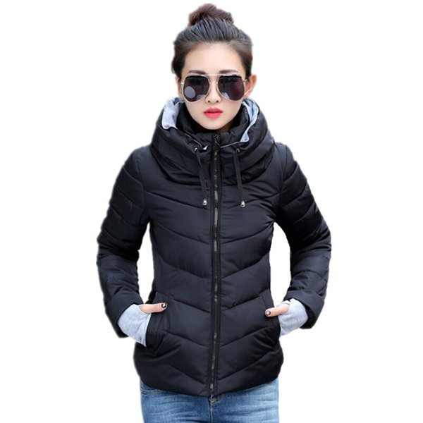 2018 Winter Jacket women Plus Size Womens Parkas Thicken Outerwear solid hooded Coats Short Female Slim Cotton padded basic topsY1882402