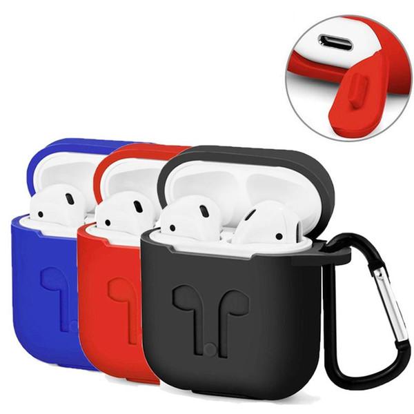 AirPods Kılıf için Askı Koruyucu Silikon Kapak Carabiner ile Apple iPhone 7 için 8x artı kablosuz kulaklık Airpods aksesuarları