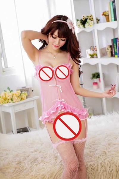 Envío gratis Nueva lencería sexy cosplay lencería sexy tentación sexy gasa perspectiva frente pieza jumper correa pijamas con tirantes