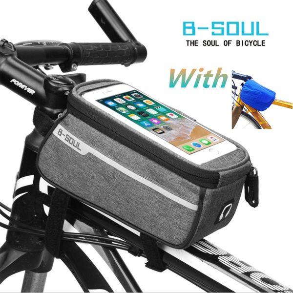 B-SOUL Waterproof MTB Road Bike Front Tube Bag 6inch Phone Touch Screen Saddle Mobile Phone With Headphone hole Bike Accessories