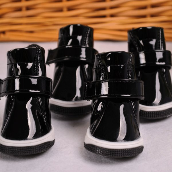 Pet Dog Shoes small dogs Spring Summer New Lovely Dog Shoes PU Shoes Pet Warm And Fashion For Pet Supplies 4PC / SET
