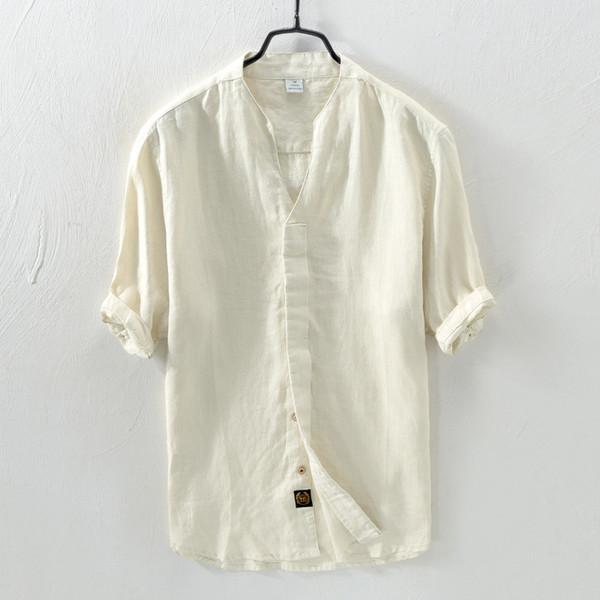 Yaz Nefes Gevşek Tip Yarım Kollu Halk Tarzı Rahat Gömlek Moda Çin Tarzı Erkekler Vintage Retro Saf Pamuk Keten Gömlek