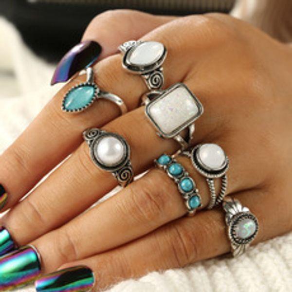 Neue Muster imitieren Perle Protein Anzug Ring Drip grün Türkis Perlen sieben Papier Set Gruppe kombinieren Anzug Ring