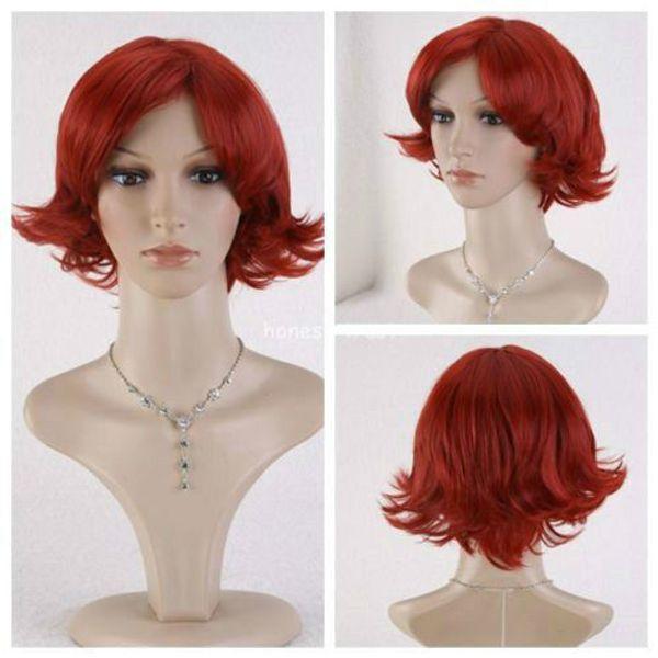 Anime MEN Wine Red Ghoul Touka Kirishima Short Cosplay Wavy Curly Hair New Wig