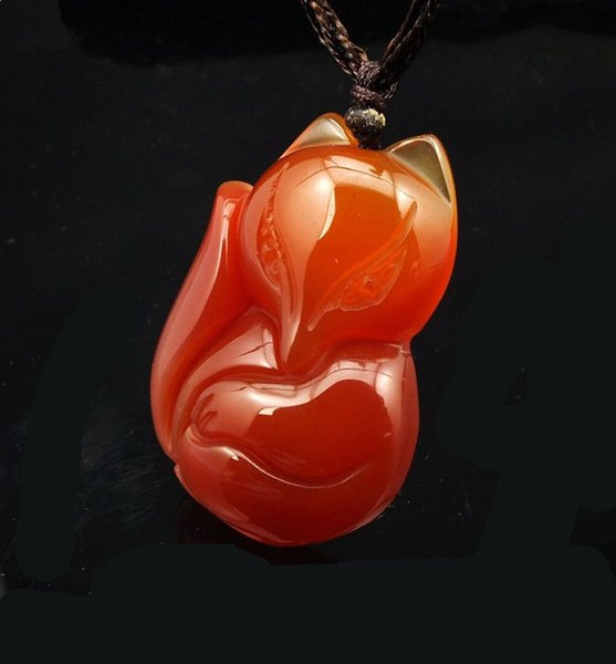 YUNHAIYUAN NATURAL RED CHALCEDONY ICE JADE CARVING RED FOX PENDANT