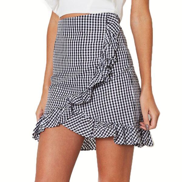 49ffb3556b Split Ruffles Plaid Skirt Women Elegant Asymmetrical High Waist Back Zipper  Retro Fashion Streetwear Mini Pencil
