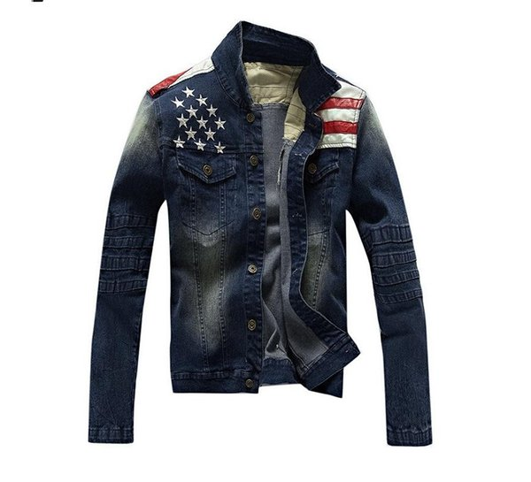 2015 New USA Design Mens Jeans Jackets American Army Style Man's Jeans Clothing Denim Jacket for Men Plus Asian Size XXXL