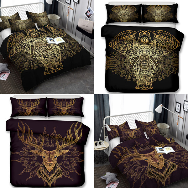 Elephant and Deer Bedding Set 3pcs Duvet Covers Pillow Case King Size All Size