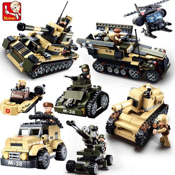 Sluban DIY eductional 8 en 1 Blocs de Construction Ensembles Militaire Armée Enfants pour enfants Jouets Cadeaux De Noël compatibles avec legoe