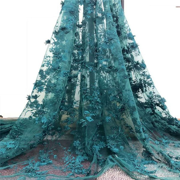 African Lace Fabric latest High Quality Lace 3d Applique Embroidery Tulle beaded Nigerian Lace Fabric For Wedding