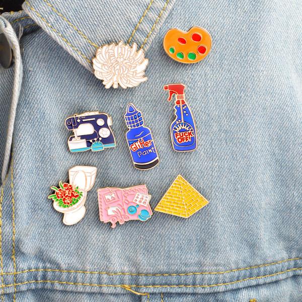 Broches Pasadores Paleta Inodoro Pirámide Detergente Máquina de Coser Placa de Herramienta Crisantemo Suministros Diarios de Dibujos Animados Insignia