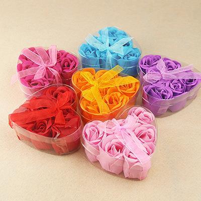 600pcs Hot sale High Quality Mix Colors Heart-Shaped Rose Soap Flower For Romantic Bath Soap Valentine's Gift lin4356